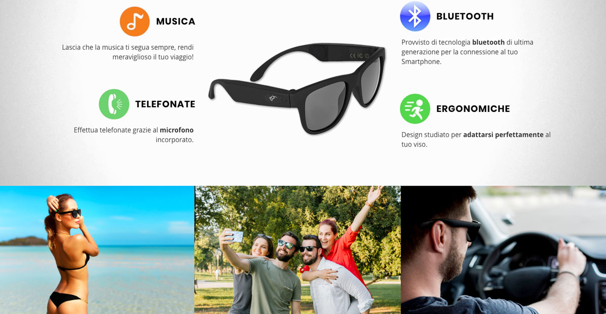 smart glasses occhiali cuffie